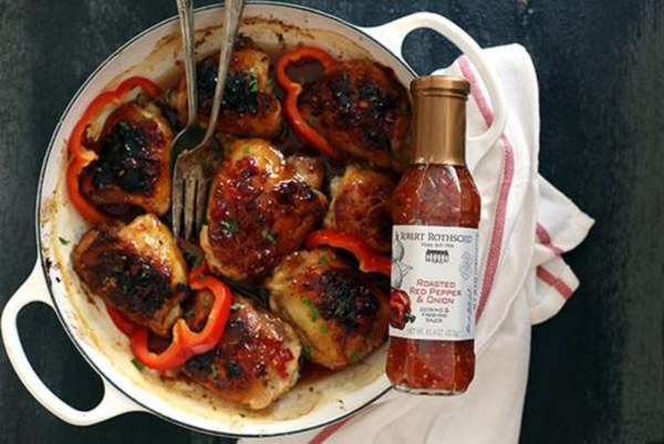 Image ofSticky Roasted Red Pepper Chicken Thighs