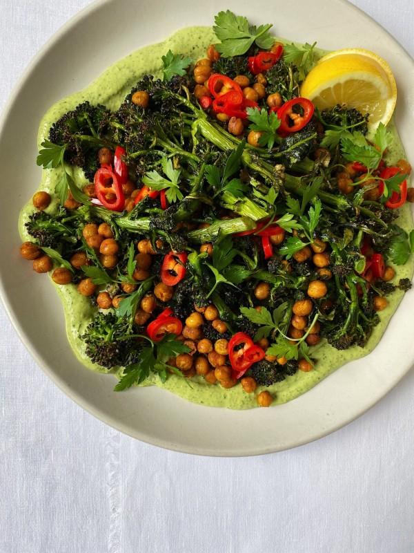 Image ofPurple sprouting broccoli, chickpeas + green tahini