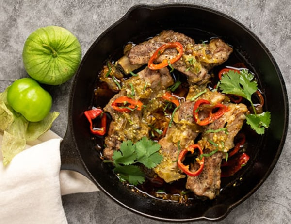 Image of Tomatillo Salsa Braised Baby Back Ribs