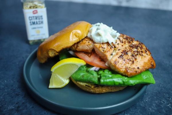 Image of Citrus Salmon Burger w/ Tarragon Aioli