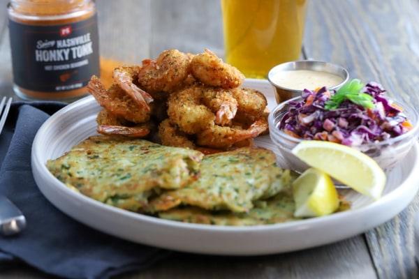 Image of Nashville Hot Fried Shrimp & Potato Pancakes
