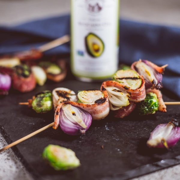 Image ofBacon, Onion, and Brussels Sprout Skewers