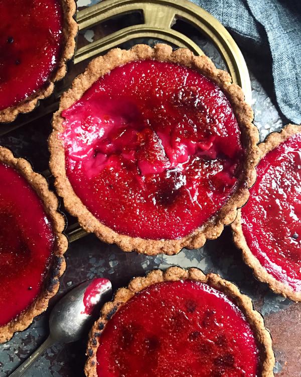 Image ofBrûléed Cranberry Custard Tartlets
