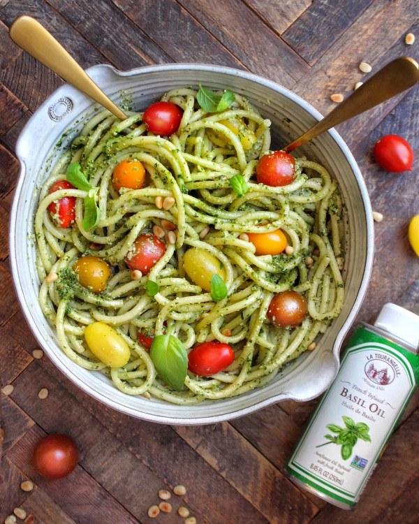 Image ofEasy Pesto Pasta with Basil Oil