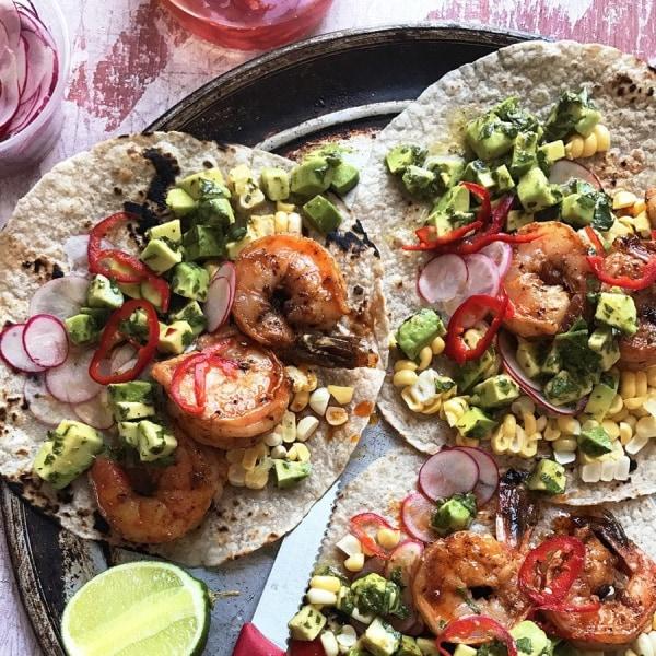 Image ofGarlicky Paprika Shrimp and Avocado Salsa Tacos