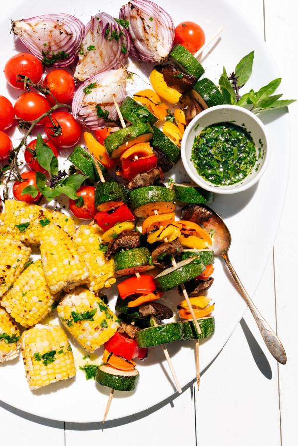 Image ofGrilled Veggie Kebabs with Herbed Olive Oil