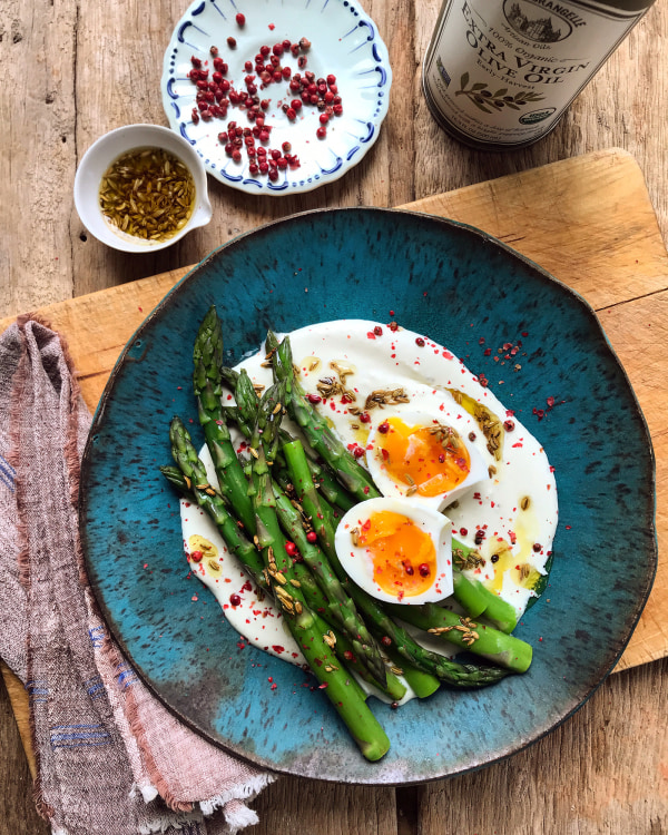 Image ofJammy Eggs With Creamy Feta Sauce and Asparagus