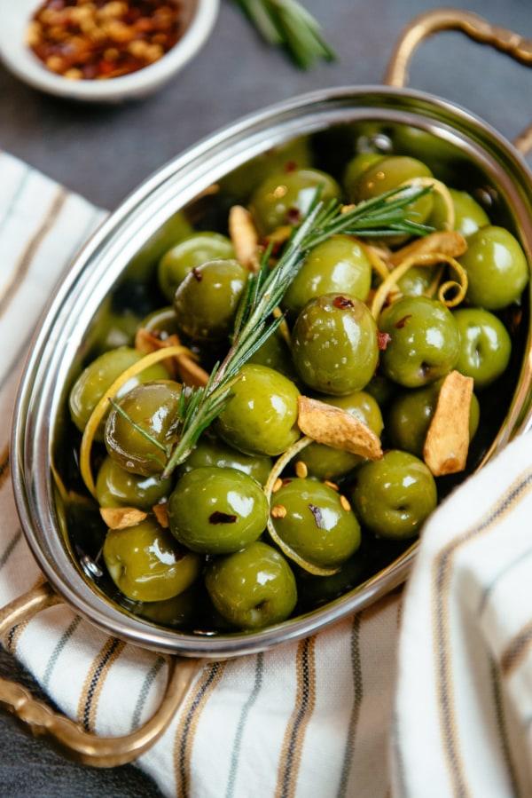 Image ofRoasted Olives with Crispy Garlic