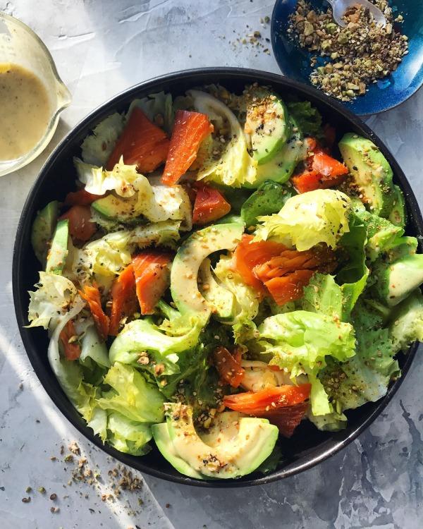Image ofSmoked Salmon & Escarole Salad with Meyer Lemon-Garlic Vinaigrette & Crunchy Dukkah