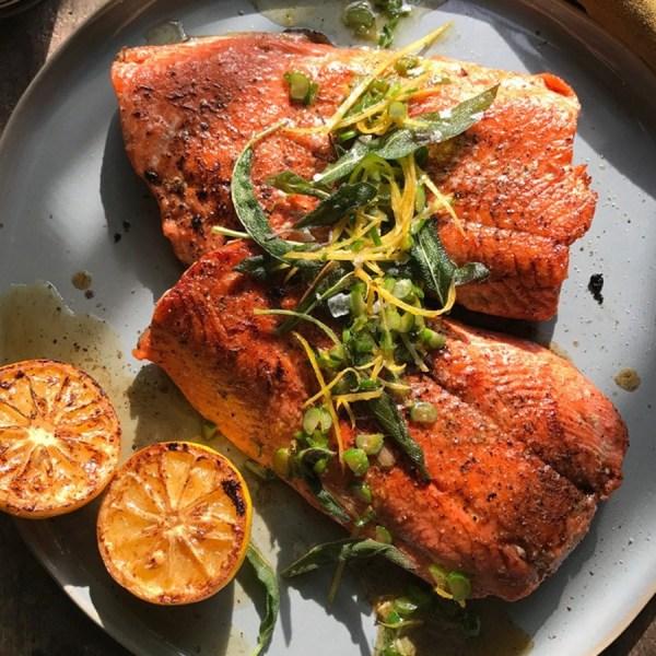 Image ofWild Salmon and Walnut Oil Fried Sage Gremolata