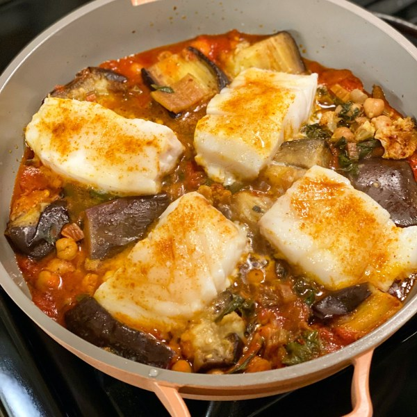 Image ofSalvador spiced cod, chickpea, and eggplant stew
