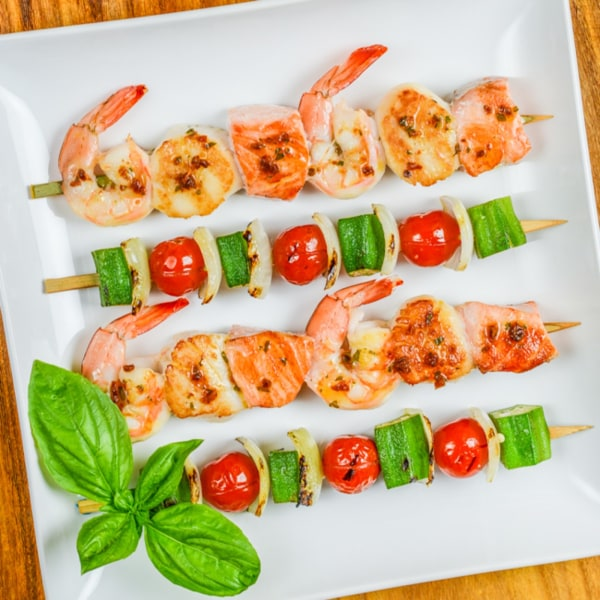 Image ofGrilled Seafood Skewers with Tomato Basil Butter