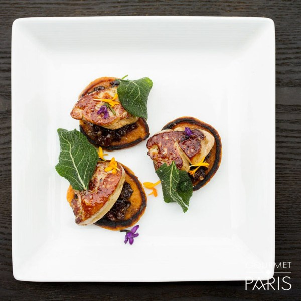 Image ofSweet Potato Pancakes with Currant-Shallot Jam and Jean Larnaudie Foie Gras