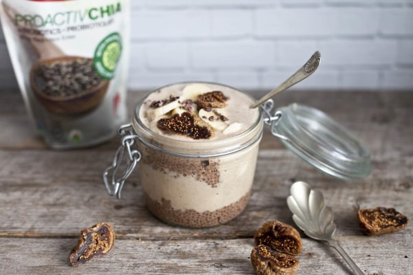 Image ofChocolatey ProactiveChia Parfait with Cacao Figs and Banana