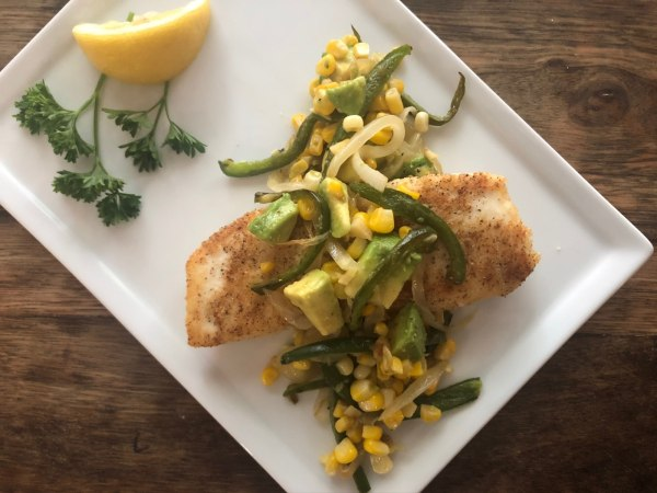 Image ofPan Fried Halibut with Jalapeno Corn Salsa
