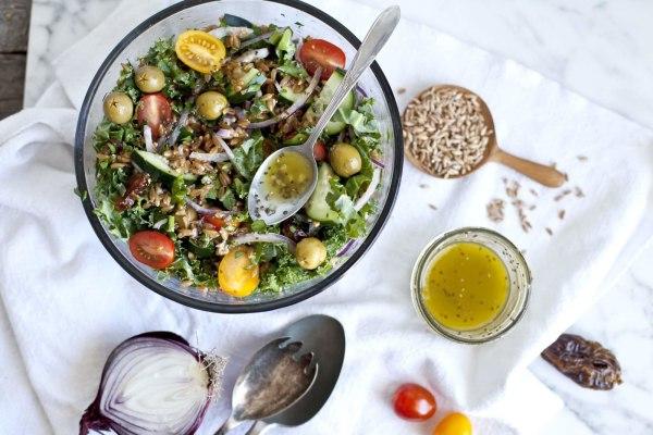 Image ofFarro Salad with Olives, Medjool Dates, and Mediterranean ProactivChia Dressing