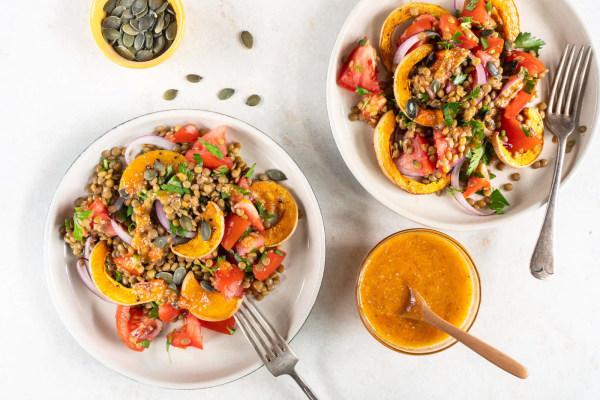 Image ofAutumn Squash Salad with Tomato Chia Dressing