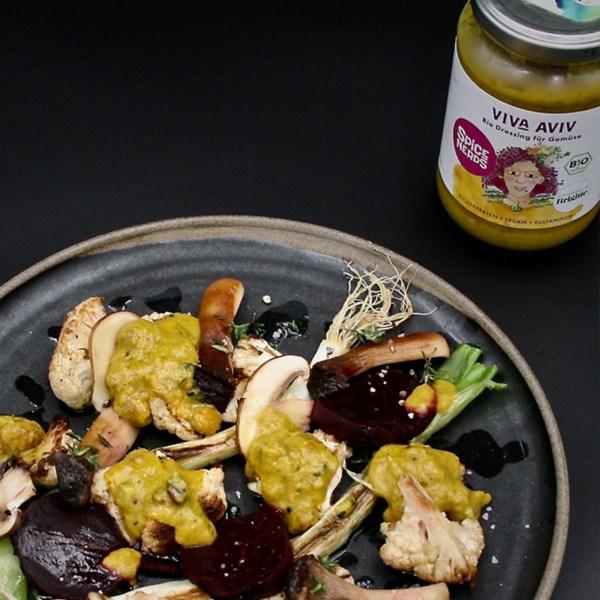 Image ofOfengemüse: Blumenkohl, Rote Beete, Champignons mit Viva Aviv Dressing für Gemüse