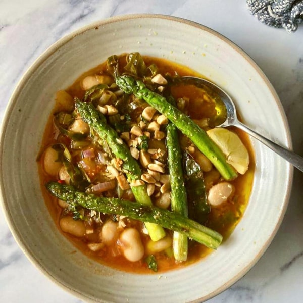 Image of Tomato Broth Bean Soup with Asparagus