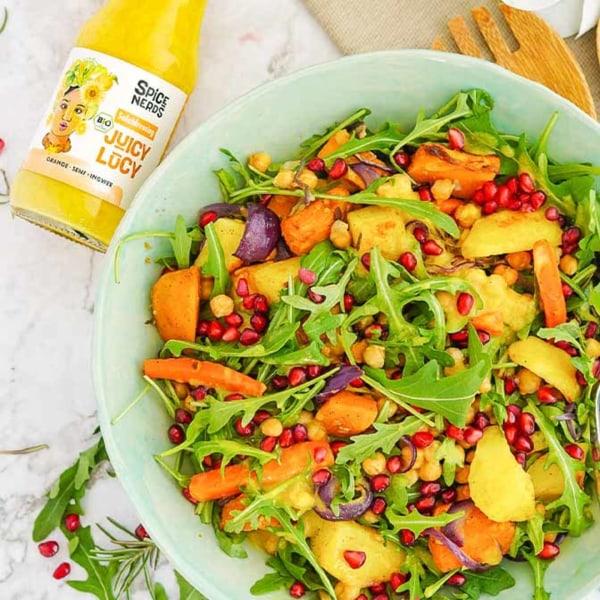Image of Rucola-Salat mit Röstgemüse und Juicy Lucy Salatdressing