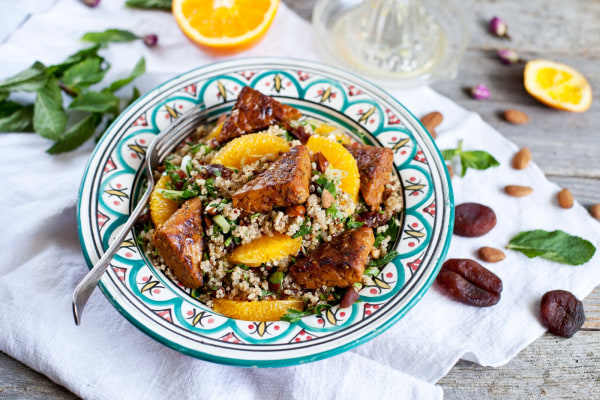 Image ofMoroccan quinoa salad with orange infused Noble Bean Tempeh