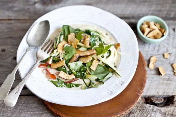 Image ofZucchini Noodles with Coconut Milk Broth and Spicy Coconut Chips