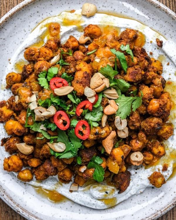 Image ofCrunchy Curried chickpeas with Raita + Mango Chutney