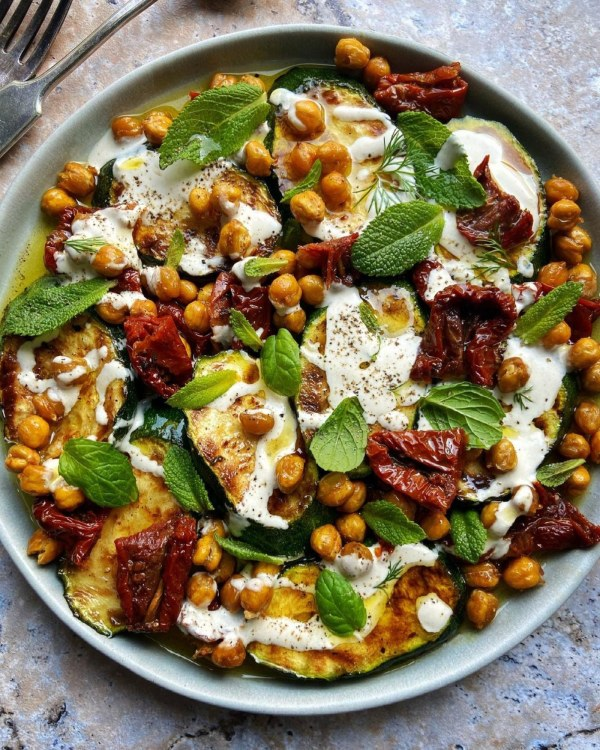 Image ofGrilled Courgettes, Roasted Chickpeas + a Tahini Dressing