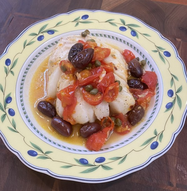 Image ofBaked Cod with Cherry Tomatoes, Olives and Capers in White Wine