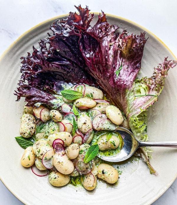 Image ofButter Beans in Green Yoghurt, served in lettuce