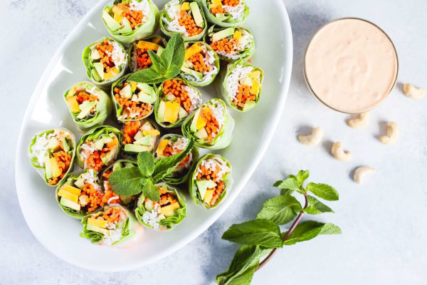 Image ofMango-Avocado Spring Rolls with Spicy Cashew Sauce