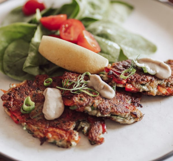 Image ofZucchini, Bell Pepper & Truffle Fritters