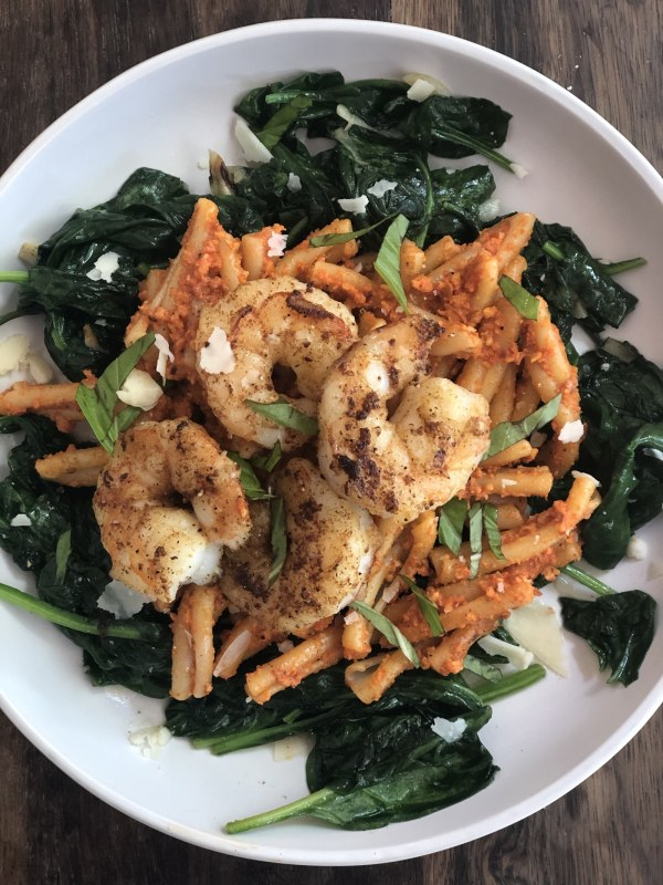 Image ofShrimp Romesco Pasta with Spinach
