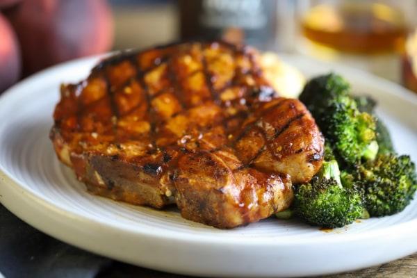 Image of Giant Bone-in Peach BBQ Pork Chops