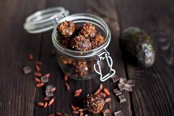Image ofAvocado, Chocolate and Goji Berry Truffles