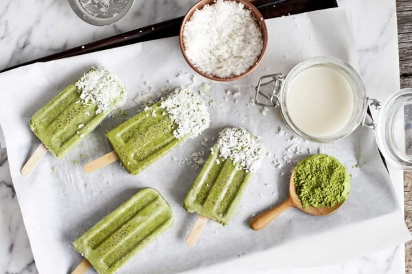 Image ofMatcha, Chia, and Coconut Popsicles