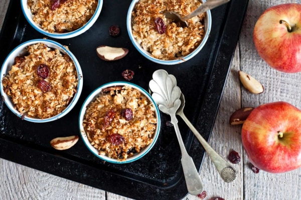 Image ofVegan Apple Nut Crunch Crumble with Cranberries and Dates