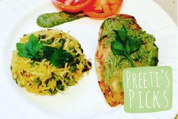 Image ofPreeti's Organic Pesto Chicken with Saffron Pilaf