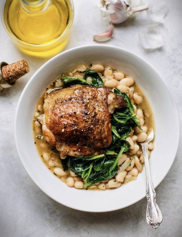 Image of Roasted Chicken Thighs + Saucy Rosemary Beans