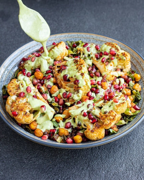 Image ofRoasted Cauliflower, Chickpea + Green Tahini Salad