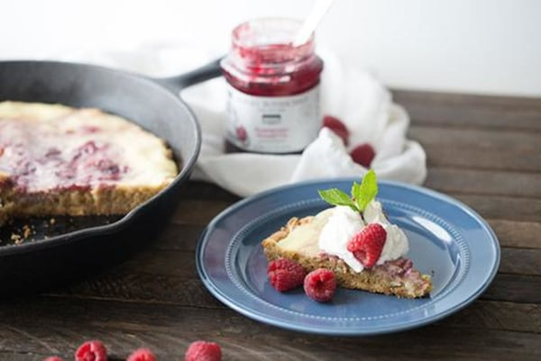 Image of Raspberry Amaretto Cheesecake Skillet Blondie