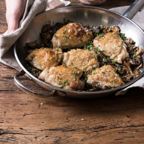 Image ofCrispy Chicken Thighs with Mushroom Gravy Sauce