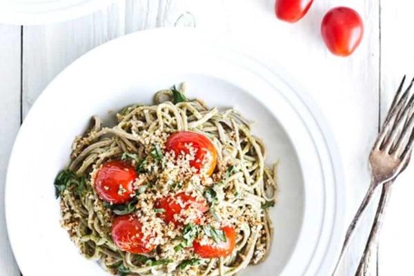 Image ofKale Pesto Soba Noodles with Crispy Zaatar Panko Topping