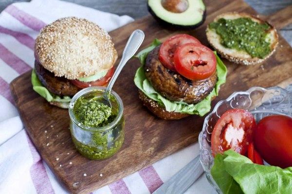 Image ofBBQ Portobello Burger with Kale, Basil, and Hemp Pesto