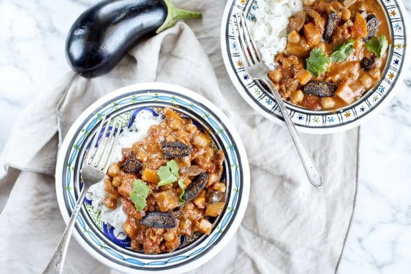 Image ofEggplant Curry with Chickpeas and Dried Figs