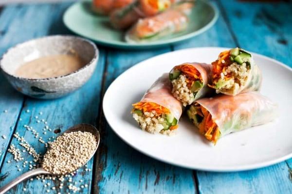 Image ofQuinoa Spring Rolls with Spicy Cashew Sauce