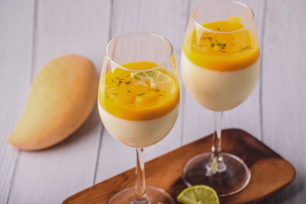 Image of Lime Posset with Mango Sauce