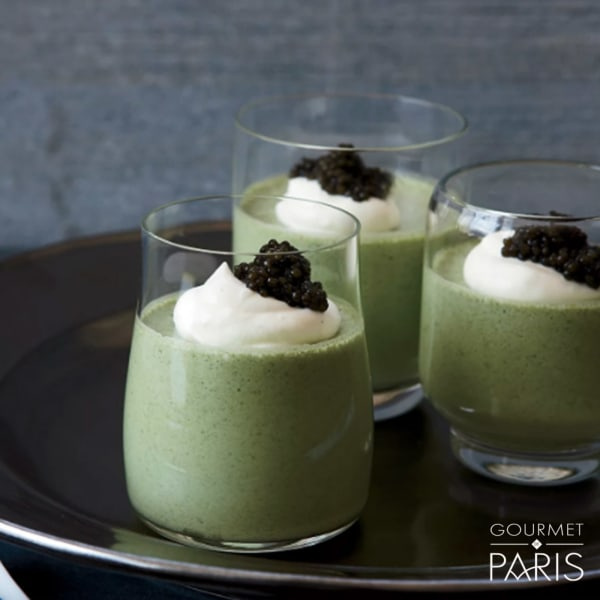 Image ofSorrel Mousse with Caviar and Lemon Cream