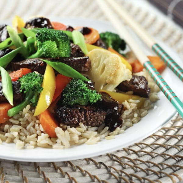 Image ofZesty Beef Stir-Fry Over Brown Rice