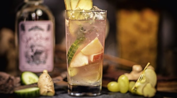 Gin Rouge Fruchtmus-Ingwer Tonic Rezept